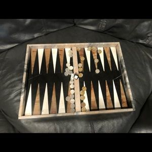 Italian Marble & Onyx Backgammon Set with inlays